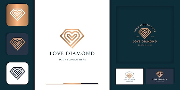 Diamante de luxo com logotipo moderno vintage e design de cartão de visita