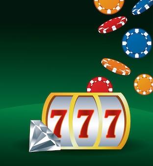 Diamante e microplaquetas do slot machine que apostam o casino do jogo
