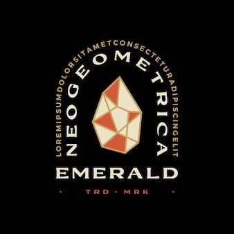 Diamante esmeralda geométrico t shirt distintivo emblema vintage tee merch logo vector icon ilustração