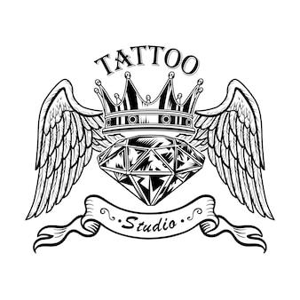 Diamante monocromático com ilustração vetorial de asas. desenho retrô de gema, coroa e asas de anjo