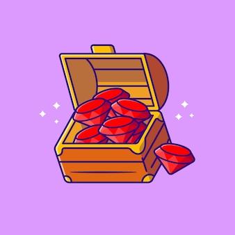 Diamante na ilustração do ícone do vetor dos desenhos animados da caixa. riqueza objeto ícone conceito isolado vetor premium. estilo flat cartoon