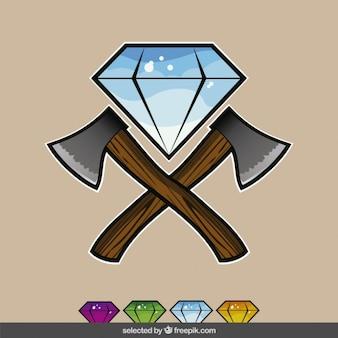 Diamantes coloridos com machados