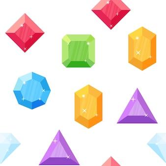 Diamantes em vários formatos. padrão uniforme. gemas coloridas. vetor de pedras preciosas. conjunto de cristais e minerais em estilo simples.