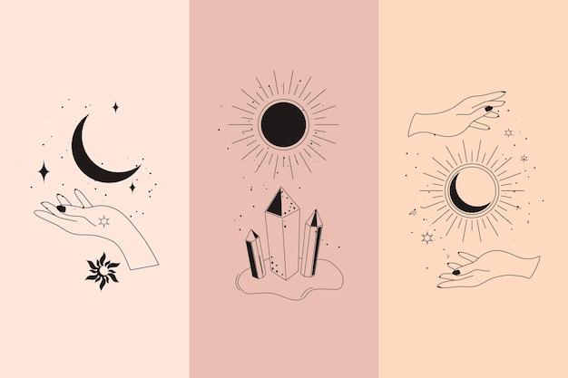Diamantes mágicos e mãos de mulher com lua crescente em boho linear boêmio simples