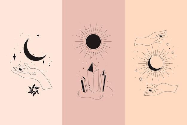 Diamantes mágicos e mãos de mulher com lua crescente em ilustrações vetoriais de estilo linear boho definido. emblemas boêmios simples em linhas douradas com mãos para design mítico e conceito esotérico.