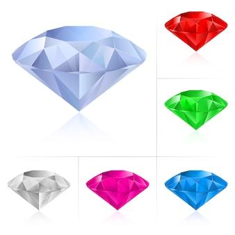 Diamantes realistas em cores diferentes