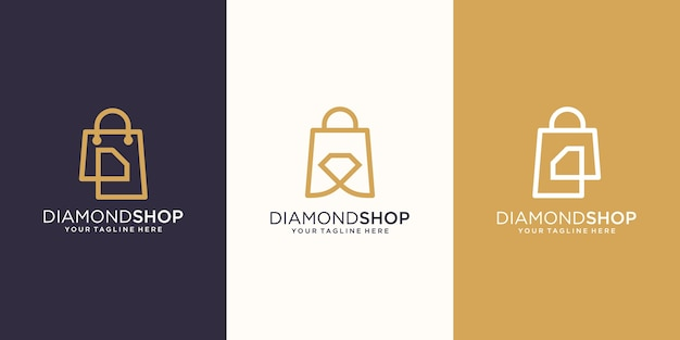 Diamond shop, bolsa combinada com modelo de design de logotipo brilhante,