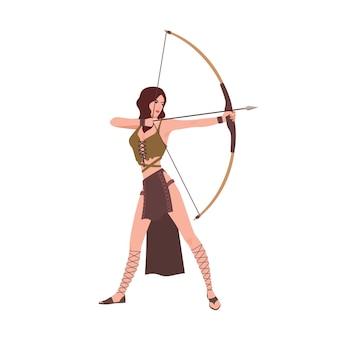 Diana ou artemis, deusa da caça da mitologia romana ou grega isolada no branco Vetor Premium