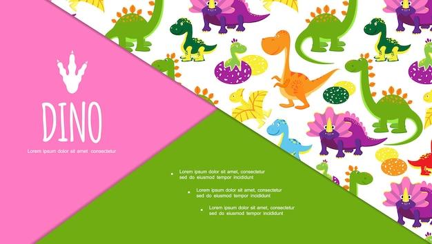 Diapositivo plano fofo engraçado de composição de dinossauros com diferentes répteis e lagartos pré-históricos
