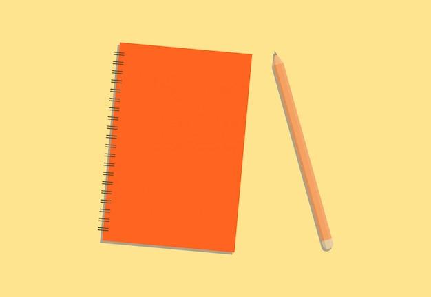 Diário colorido e lápis com fundo creme