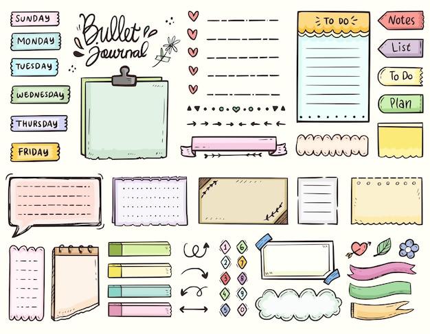 Diário com marcadores e notas coloridas do quadro para fazer a coleção do desenho do ornamento da lista