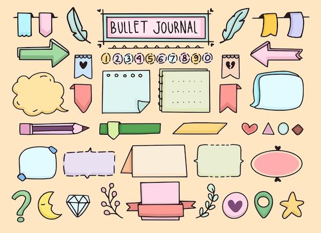 Diário com marcadores e notas de planejador conjunto de doodle de banner diário com marcadores e notas de planejador banner conjunto de doodle