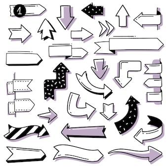 Diário de bala doodle conjunto de setas. um conjunto de setas desenhadas à mão, ponteiros no estilo doodle. símbolos e sinais primitivos, bonitos. objetos