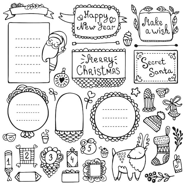 Diário de bala, natal, ano novo e inverno mão elementos desenhados para caderno, diário e planejador. quadros doodle isolados