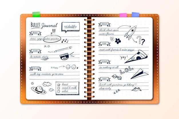 Diário de bala realista com desenhos de doodle