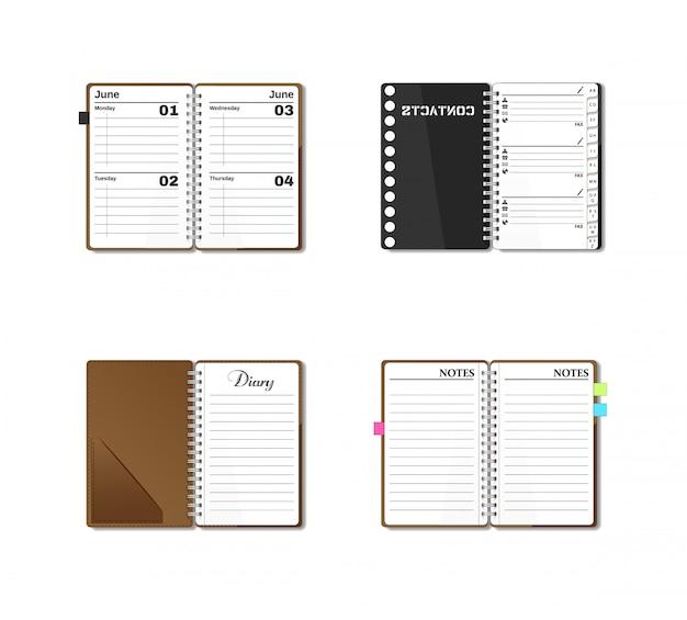 Diário de bolso aberto, caderno, bloco de notas, organizador, jornal, lista telefônica, bloco de desenho. conjunto de papelaria. páginas em branco.