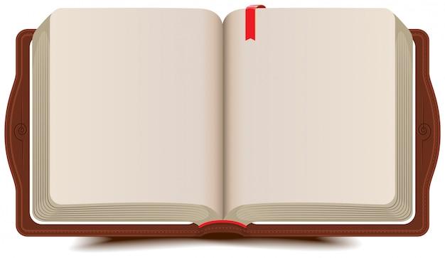 Diário de livro aberto com marcador