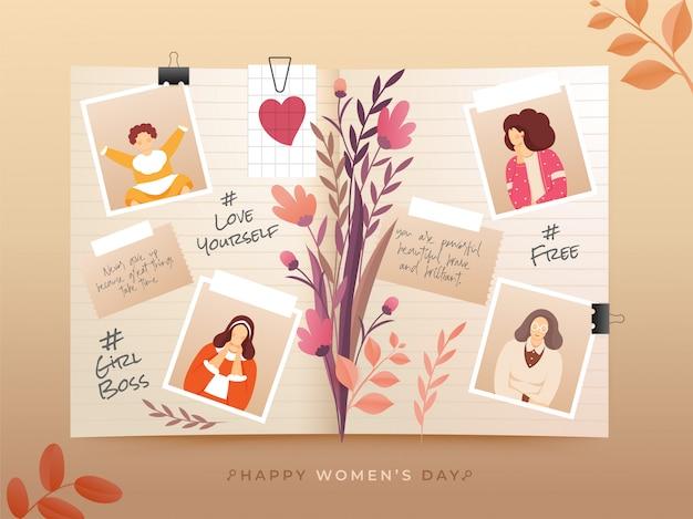 Diário de toda a vida com imagens antigas de memórias de mulher por ocasião do feliz dia da mulher.