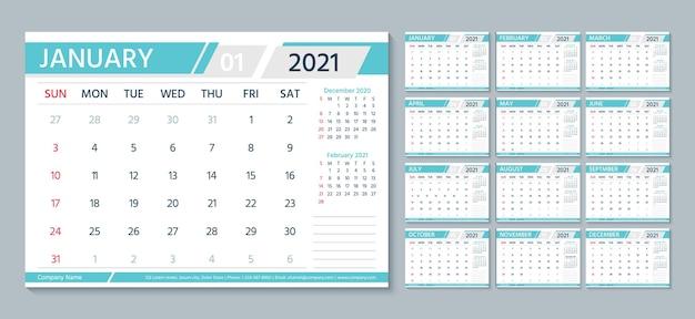 Diário mensal horizontal com todos os meses