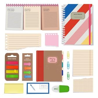 Diário, papéis em branco, bloco de notas e outras ferramentas organizadoras