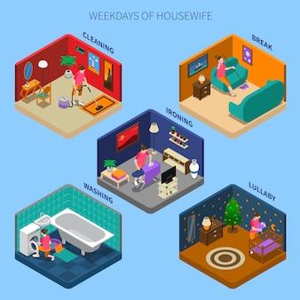 Dias da semana de cenas isométricas da dona de casa