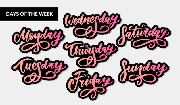 Dias da semana manuscritos e conjunto de símbolos