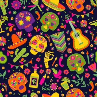Dias de los muerto, padrão sem emenda de festa de festa mexicana