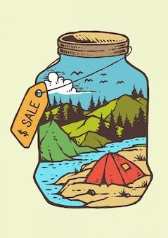 Dias de verão no rio e montanha com fogueira em ilustração vetorial vintage retrô