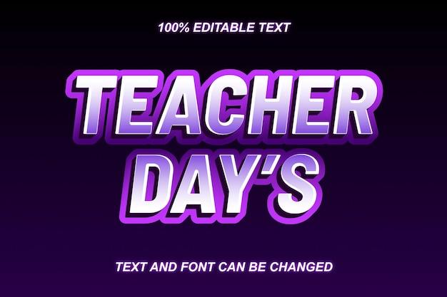 Dias do professor efeito de texto editável em estilo moderno
