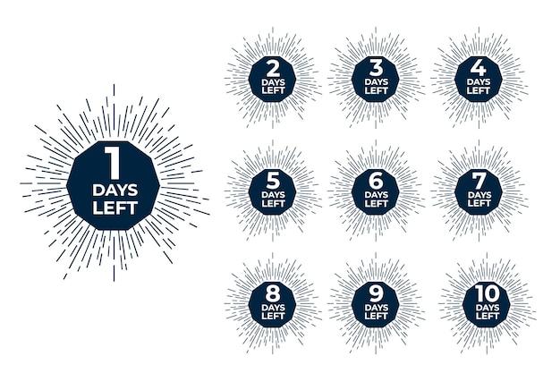 Dias restantes emblemas. contagem regressiva do dia de compras da oferta de venda.