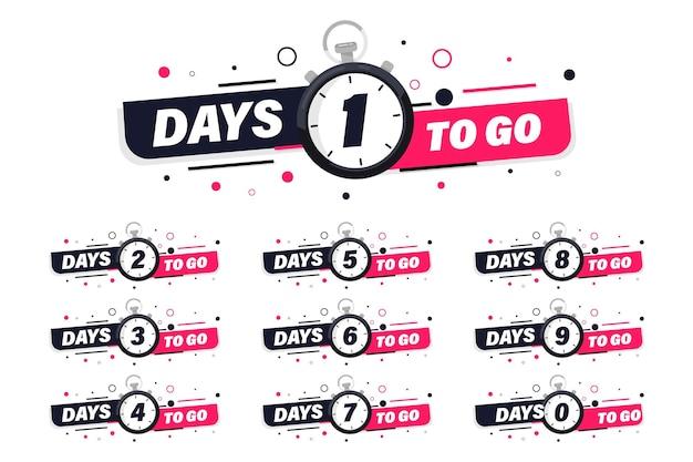 Dias restantes, emblemas e adesivos. venda de tempo de contagem. número de dias restantes. banner de dias restantes de contagem regressiva. modelo de banner de vetor de contagem regressiva. nove, oito, sete, seis, cinco, quatro, três, dois, um, zero dias restantes