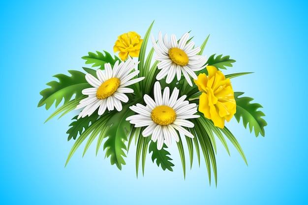 Diasy amarelo realista, buquê elegante de centáurea com folhas verdes e flores