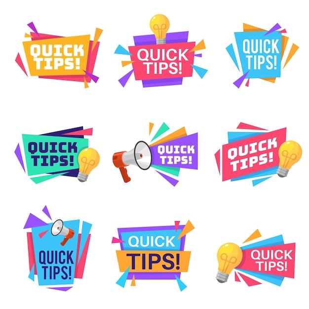 Dica rápida truques úteis e emblemas de postagem de conselhos de blog com lâmpada de ideia