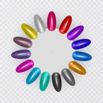 Dicas coloridas. conjunto de unhas postiças para manicure. paleta de cores de verniz para extensão de unhas.