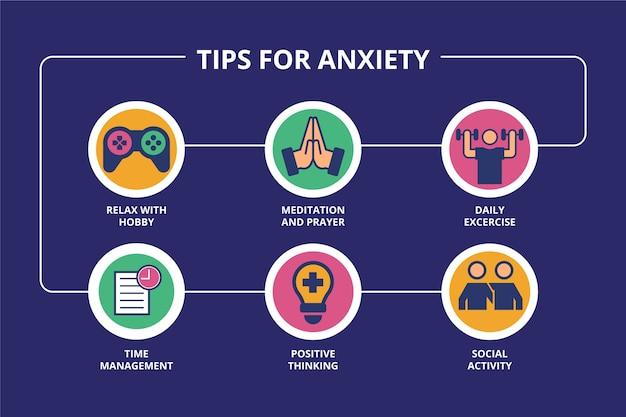 Dicas criativas para infográfico de ansiedade