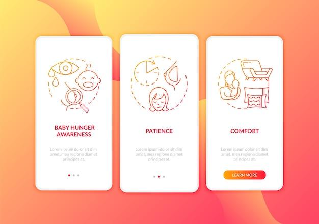 Dicas de amamentação: tela da página do aplicativo móvel com conceitos