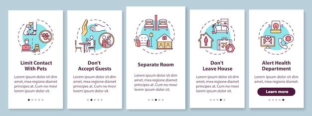 Dicas de auto-isolamento integrando a tela da página do aplicativo móvel com conceitos. ficando em casa, os contatos limitam as instruções gráficas de acompanhamento de 5 etapas. modelo de vetor de interface do usuário com ilustrações coloridas rgb