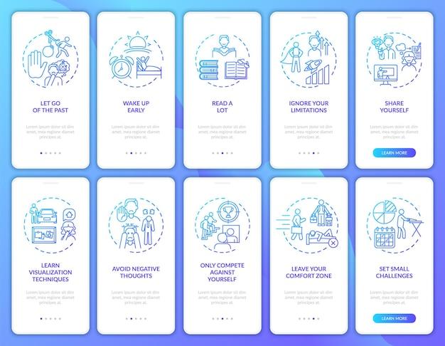 Dicas de autodesenvolvimento tela da página do aplicativo móvel navy onboarding com o conjunto de conceitos
