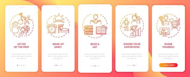 Dicas de autodesenvolvimento tela vermelha da página do aplicativo móvel com conceitos