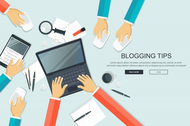 Dicas de blogs, conceito de mesa de trabalho