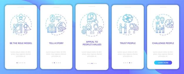 Dicas de como motivar as pessoas na tela da página do aplicativo móvel com conceitos