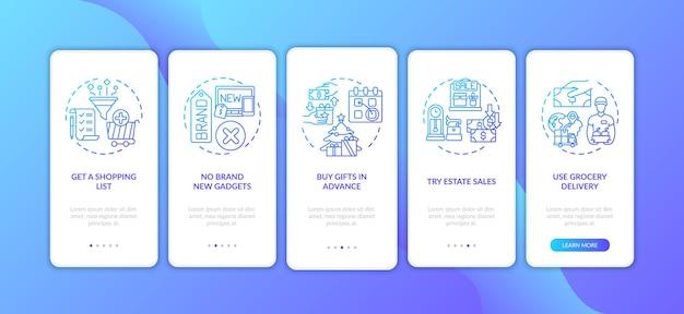 Dicas de compras inteligentes na tela da página do aplicativo móvel com conceitos