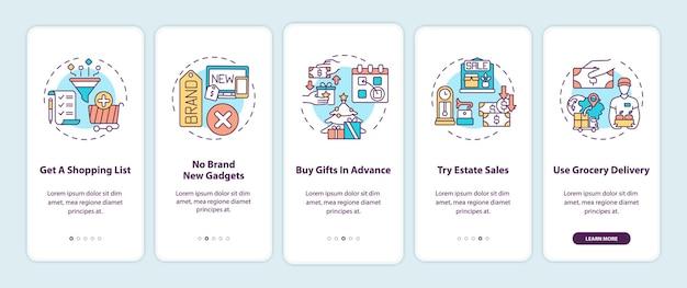 Dicas de compras na tela da página do aplicativo móvel com conceitos
