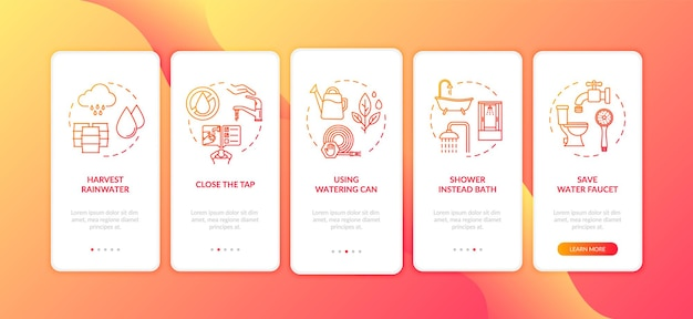 Dicas de economia de água integrando a tela da página do aplicativo móvel com conceitos. reutilização de água e economia com instruções gráficas de cinco etapas. modelo de vetor de interface do usuário com ilustrações coloridas rgb
