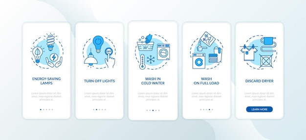 Dicas de economia de energia integrando a tela da página do aplicativo móvel com conceitos. usando menos água e eletricidade, siga as instruções gráficas de cinco etapas. modelo de vetor de interface do usuário com ilustrações coloridas rgb