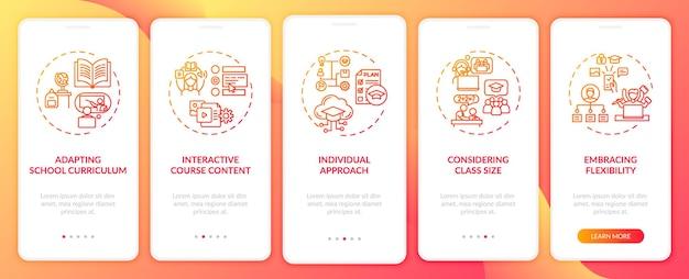 Dicas de ensino on-line integrando a tela da página do aplicativo móvel com conceitos. abordagem individual do aluno - modelo de interface do usuário de 5 etapas com ilustrações coloridas rgb