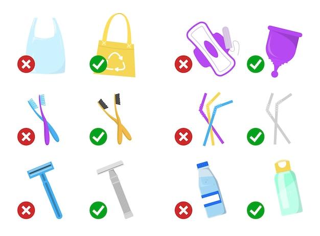 Dicas de estilo de vida de desperdício zero. substitua coisas de plástico por objetos reutilizáveis