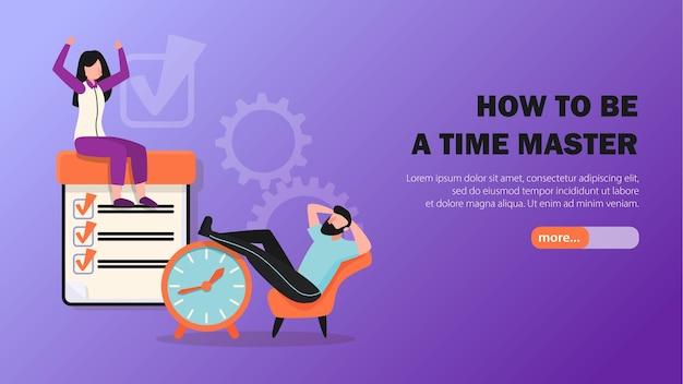 Dicas de gerenciamento de tempo, banner web horizontal e plano com relógio de tarefas concluídas e símbolos relaxantes