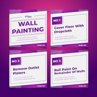 Dicas de pintura de parede no conjunto de postagens do instagram