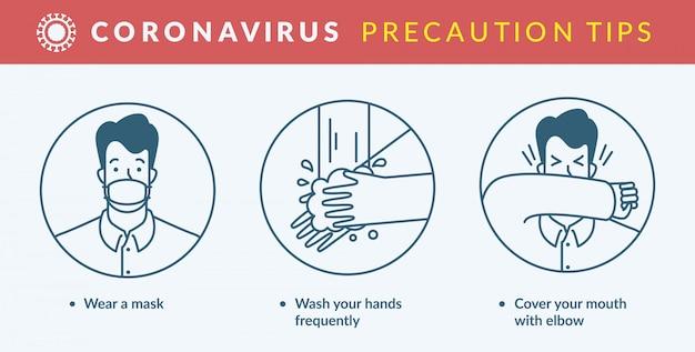 Dicas de precaução de coronavírus.